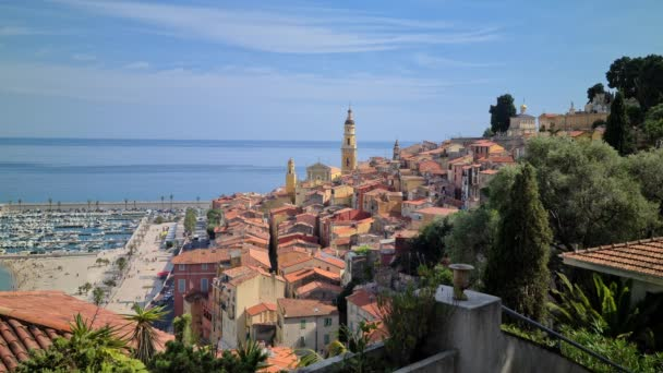 8K Beautiful Aerial View Of The Old Town Of Menton, The Beach And The Harbor On The French Riviera In Summer, France, Europe - 8K UHD (76804320)