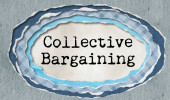 Photo Collective bargaining - typewritten word in ragged paper hole background - concept tattered illustration
