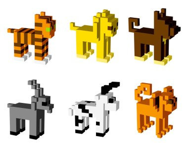 Animal icons  3D pixel art   for design project -   vector illustration