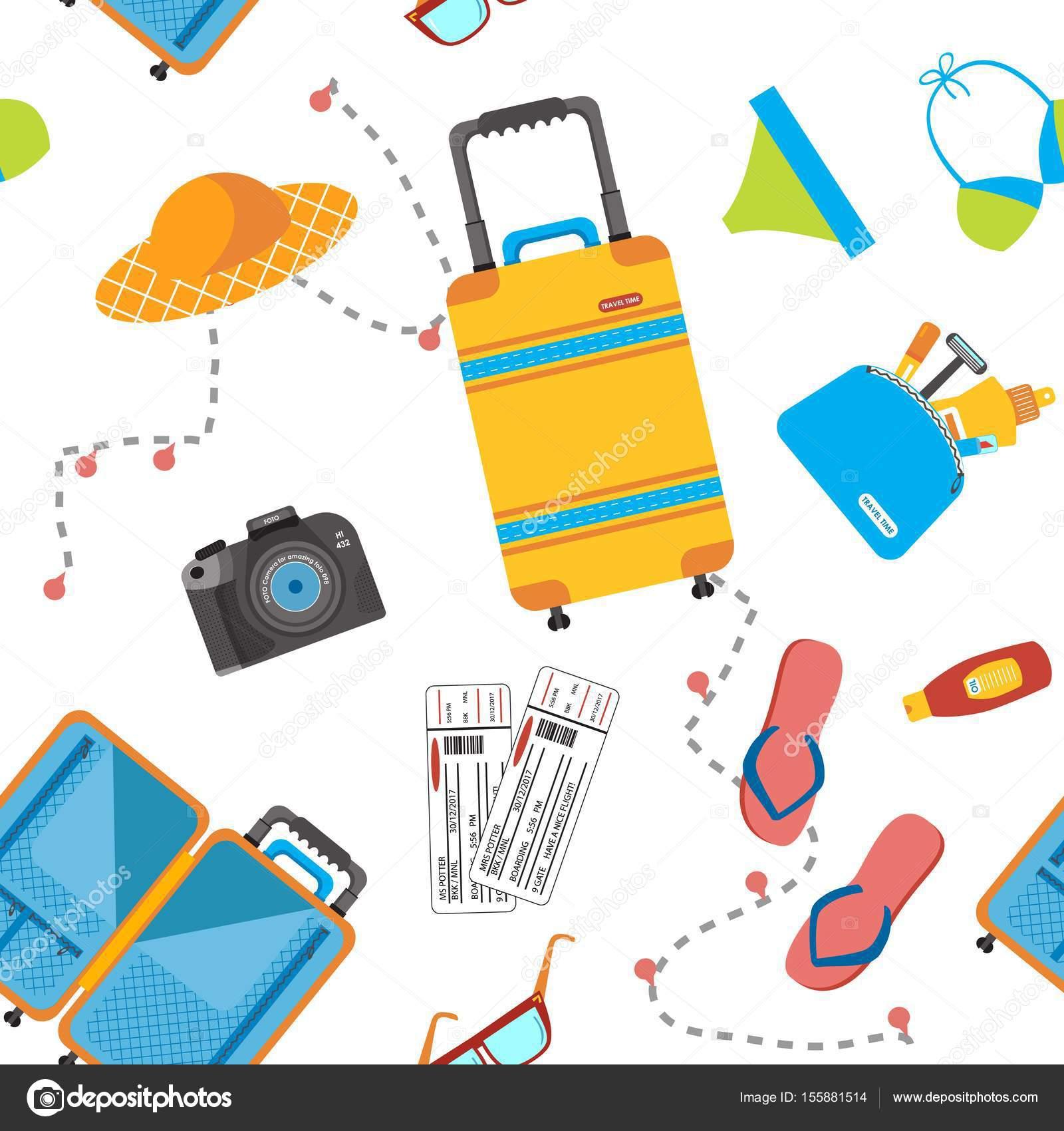 Vector: wearpack | Patrón sin fisuras con artículos de viaje ...