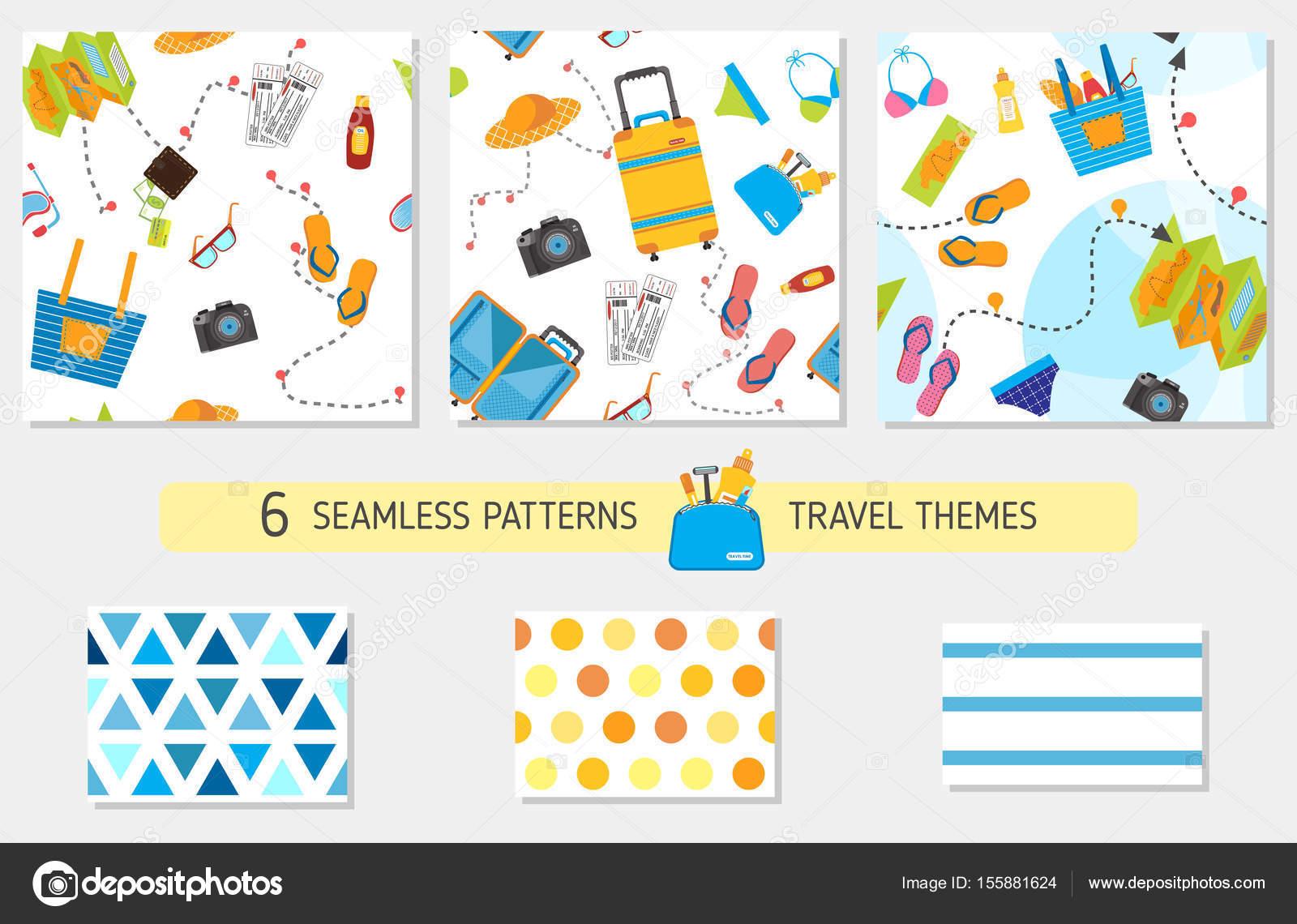 Vector: wearpack | Patrón transparente con elementos de viajes ...