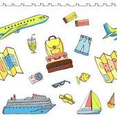 Fotografie Vzor bezešvé s cestovní předměty včetně kufru, letadlo, cr