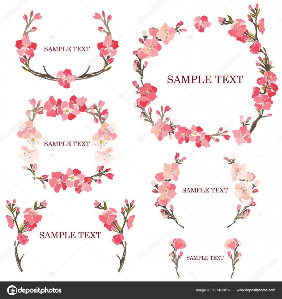 Satz von Frames aus einem rosa Sakura für eine Hochzeitsdekoration ...