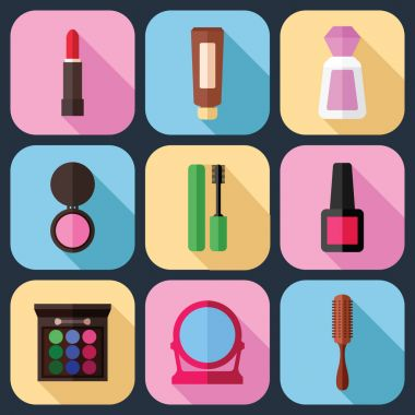 Tools for Makeup Icons Set in a Flat Style