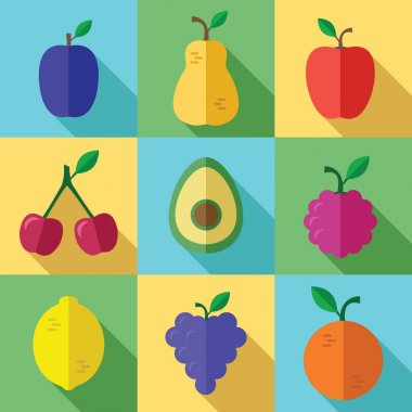 Fresh Fruits Icons Set with Long Shadow in a Flat Design