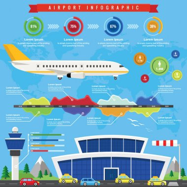 Airport Infographic with Passenger terminal and Airplane in a Flat Design