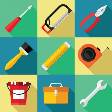 Hand Tools Icon Set for Repair in a Flat Design