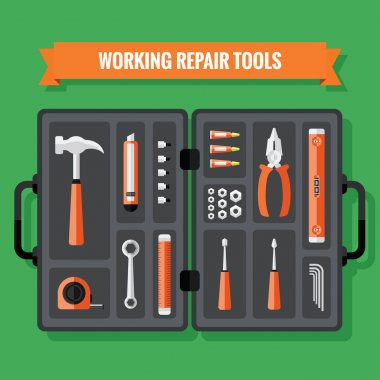 Hand Tools Icons Set With Case in a Flat Design
