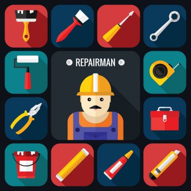 Hand Tools Icon Set with Repairman in a Flat Design