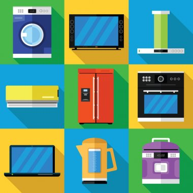 Household Appliances Icons Set in a Flat Design
