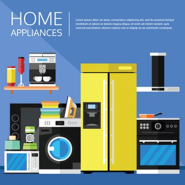 Home Appliances and Electronics in a Flat Design