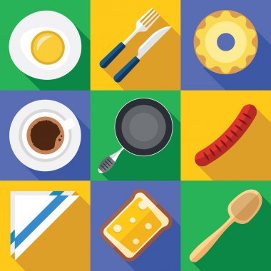 Breakfast Icon Set with Fresh Food in a Flat Design