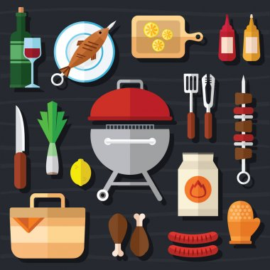 Picnic and Barbecue Food Icon Set in a Flat Design