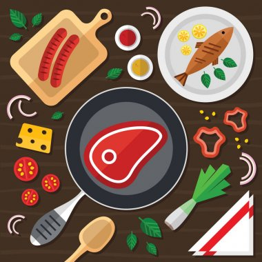 Cooking Illustration with Fresh Food in a Flat Design