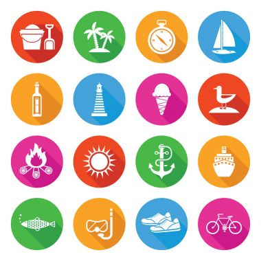 Colorful Summer Vacation and Tourism Icon Set