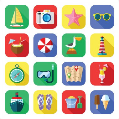 Summer Vacation Icon Set in a Flat Design