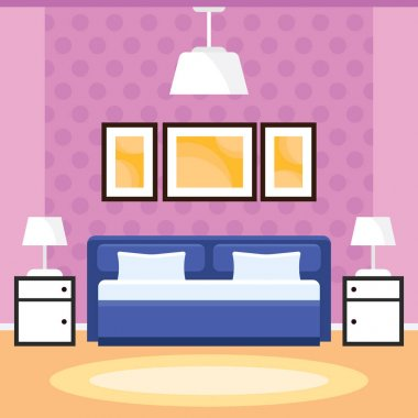 Bedroom Interior with Furniture in a Flat Design