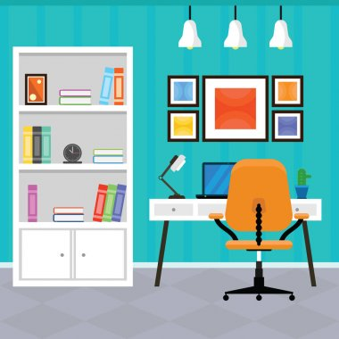 Modern Home Office Interior in a Flat Design
