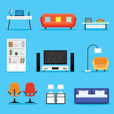 Furniture and Appliances Icon Set in a Flat Design