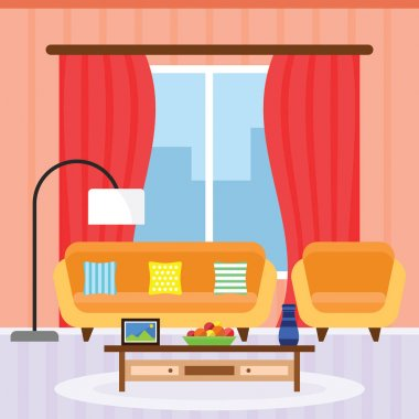 Living Room Interior in a Flat Design