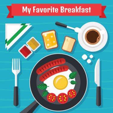 Breakfast Illustration with Fresh Food in a Flat Design