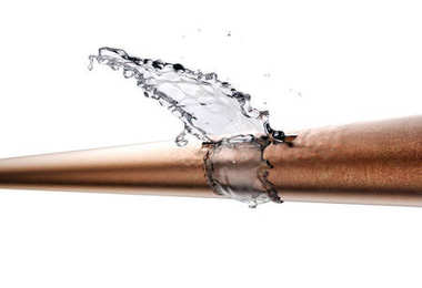 broken pipe is leaking water, isolated on white