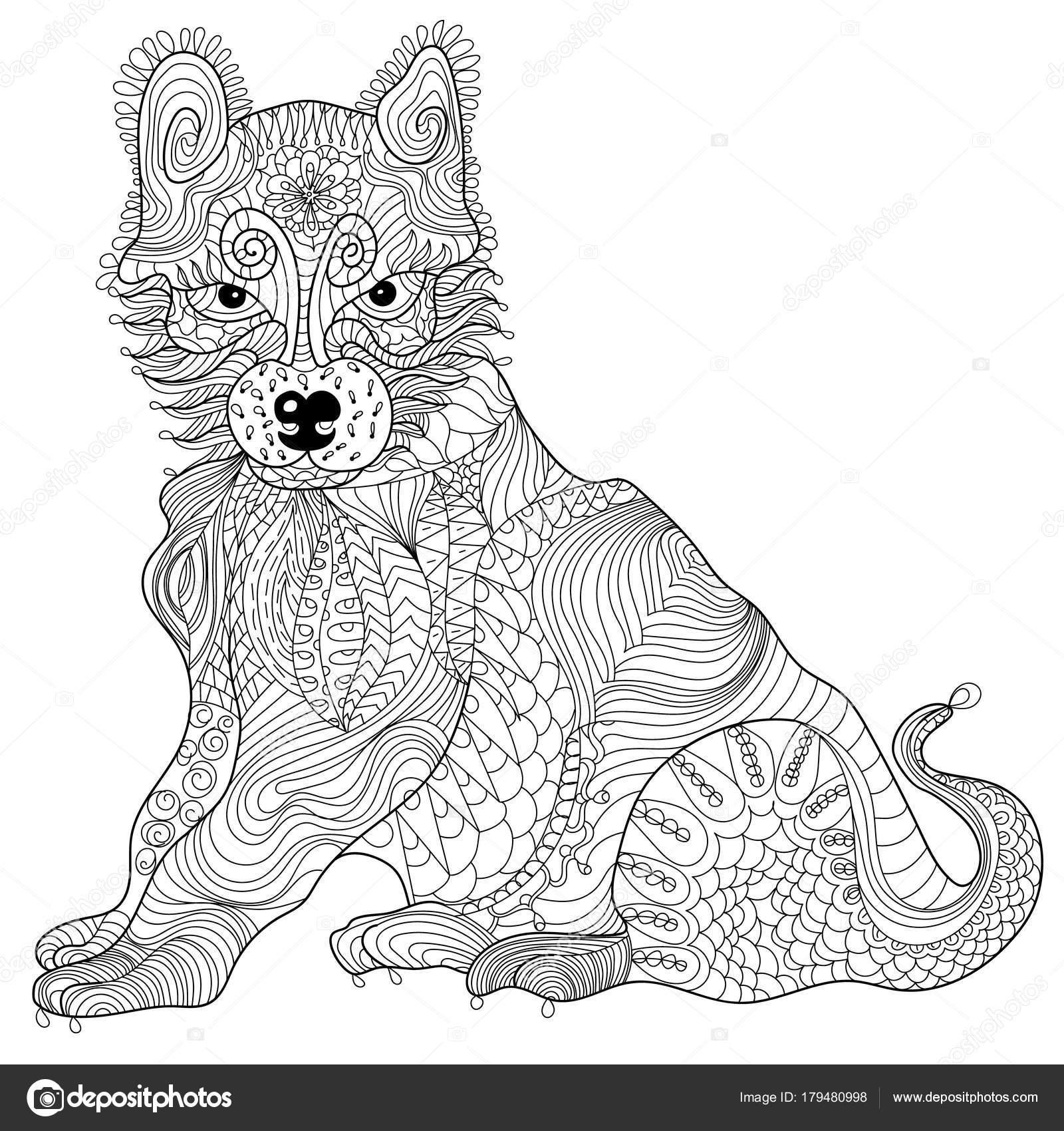 Perro anti vectorial de tensión para colorear libro para adultos ...
