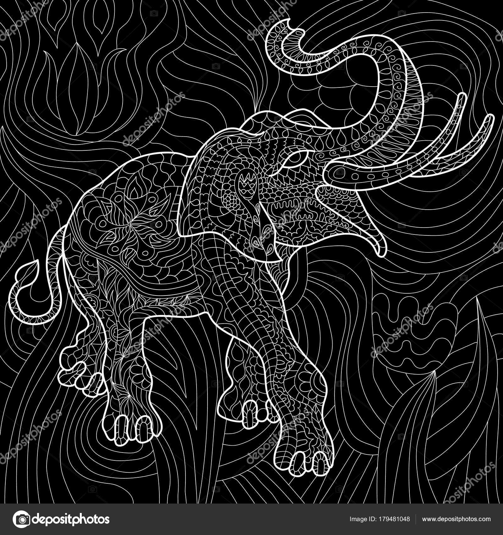 抗ストレス象大人の塗り絵黒と白手描き落書き民族パターンを印刷