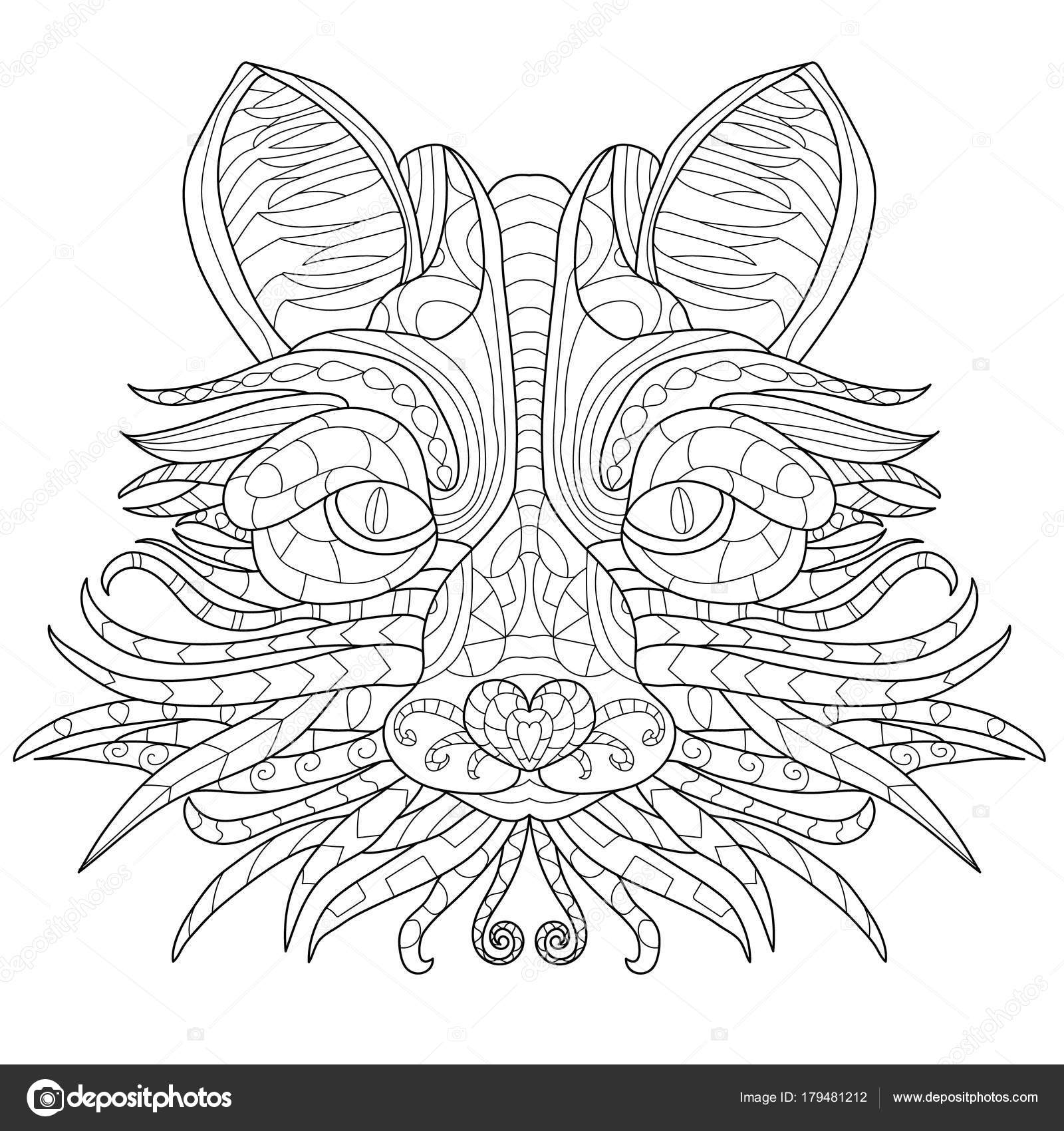 Fox anti-stress coloring book for adults — Stock Vector © sailorlun ...