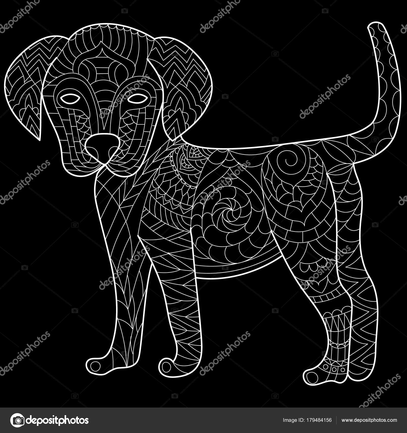 Dog Anti Stress Vector Coloring Book For Adult Isolated Ornament On White Background With Doodle