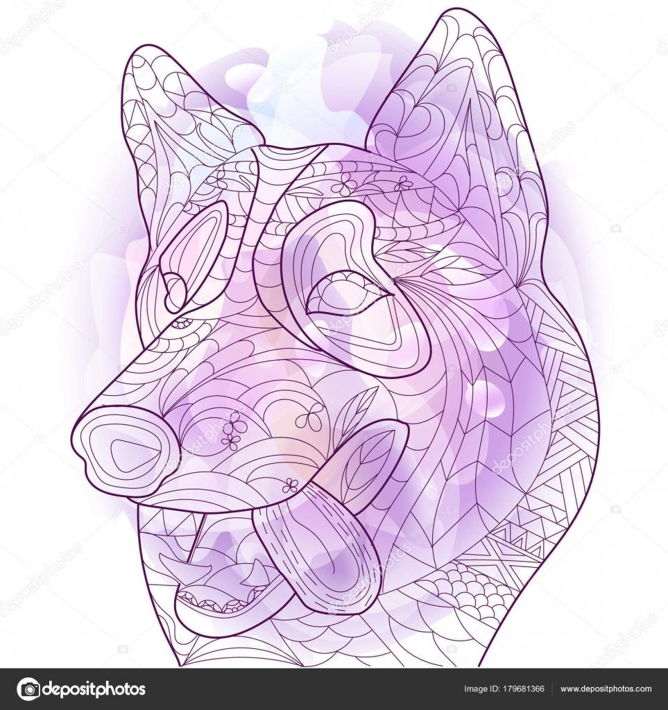 Husky anti estrés vector para colorear libro para adultos. Doodle de ...