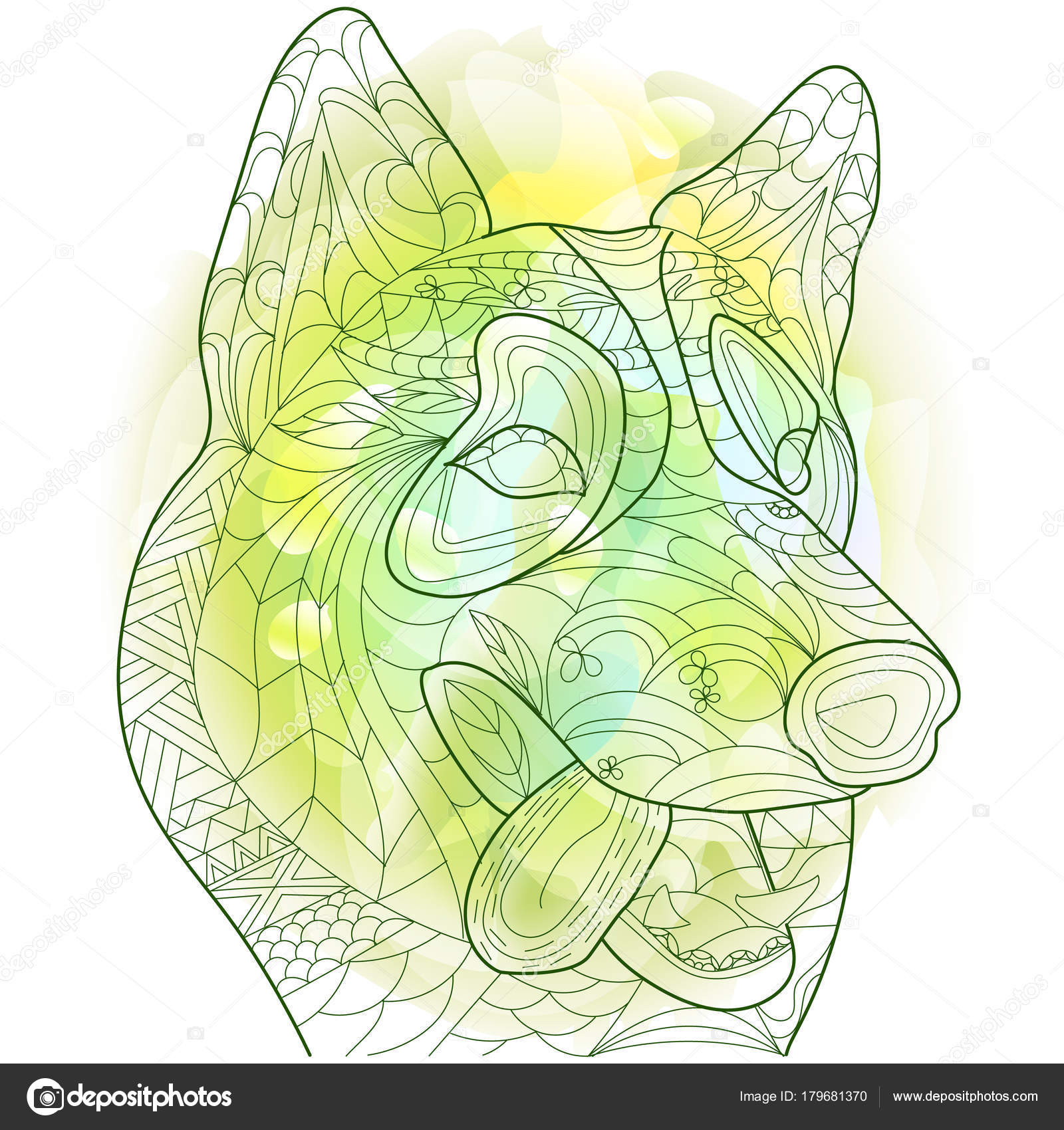 Husky anti stress vector coloring book for adult. Dog isolated ...
