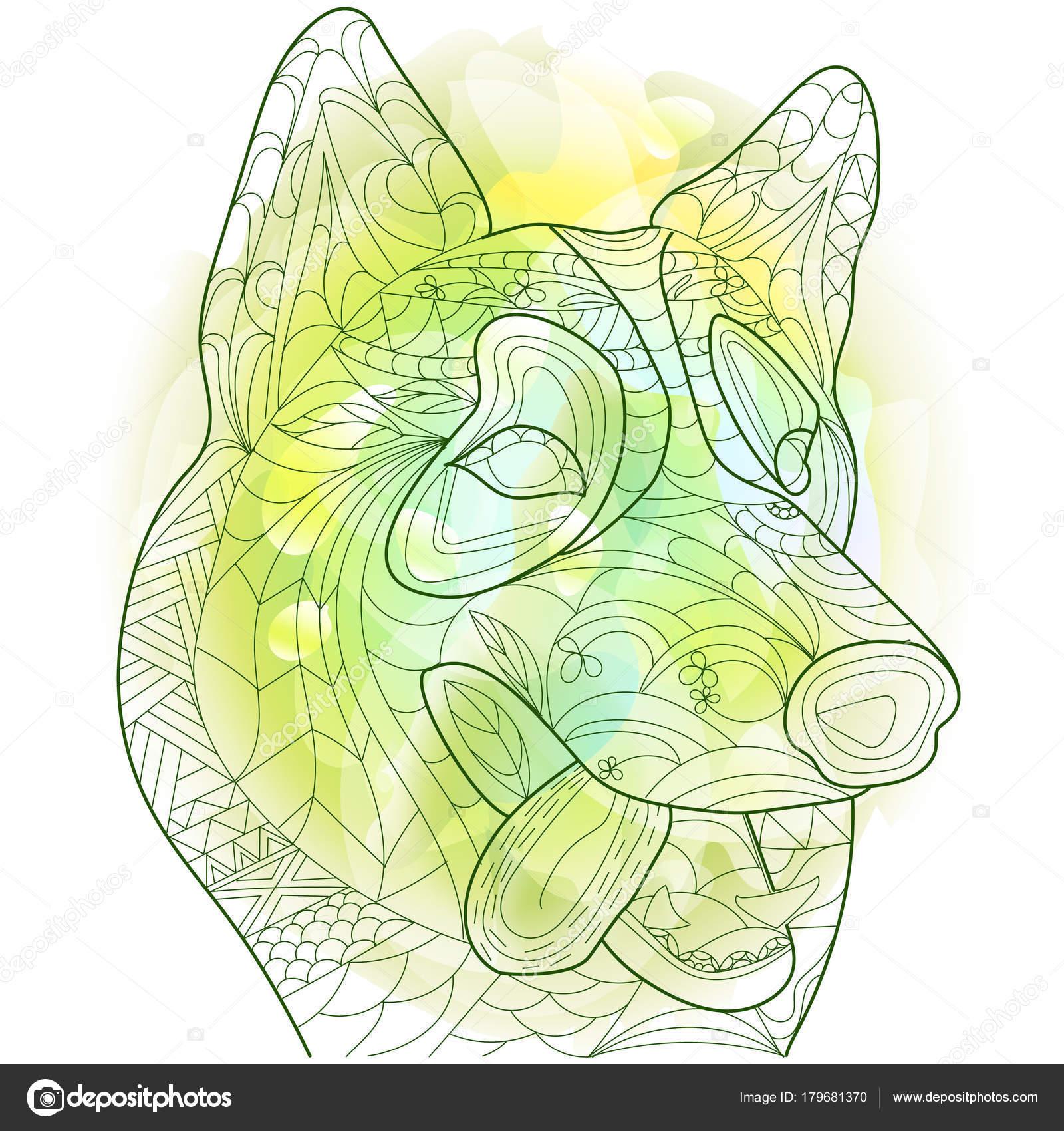 Husky anti estrés vector para colorear libro para adultos. Adorno ...