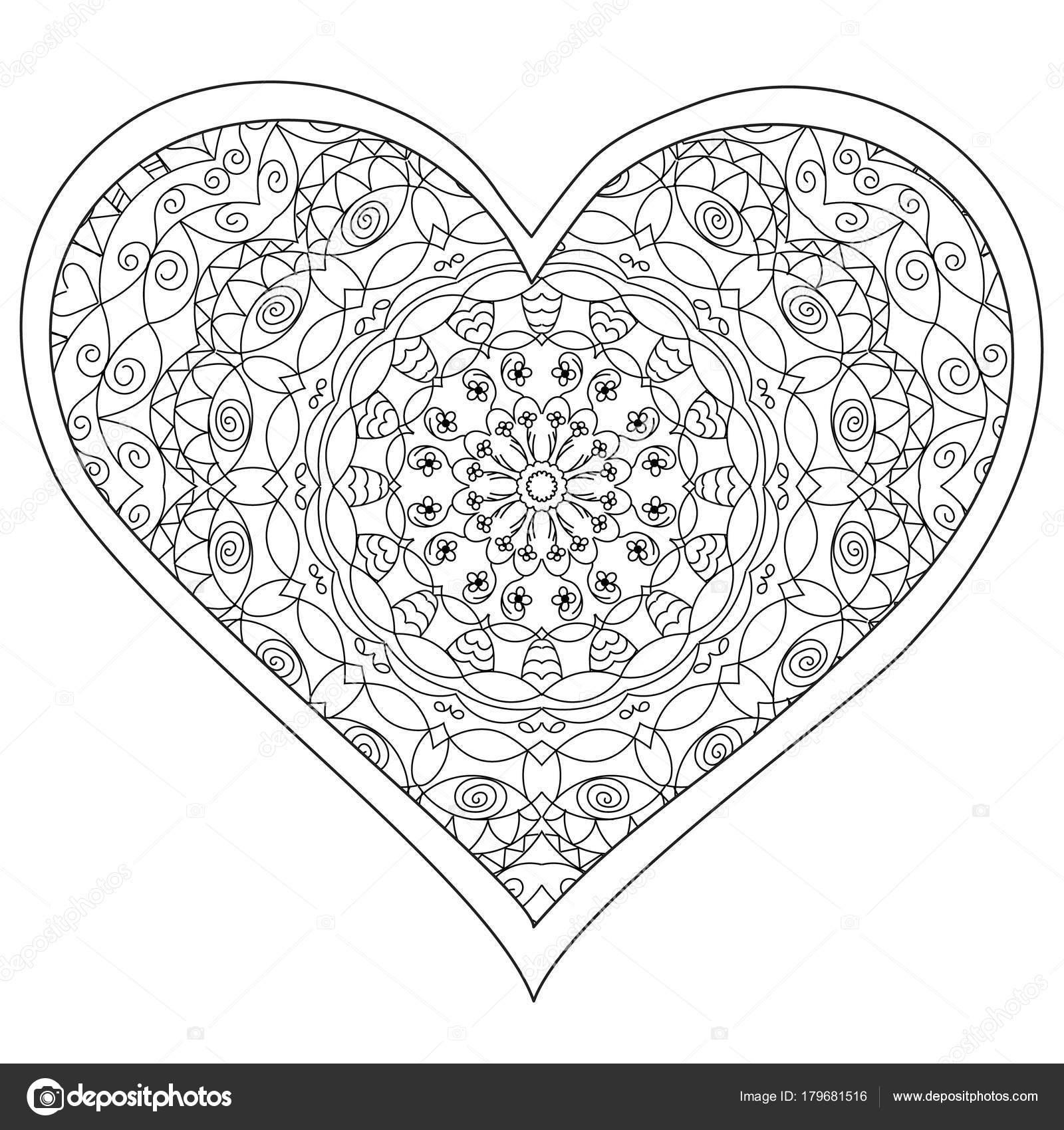 Corazón, amor mandala circular para adultos. Diseño de página de ...