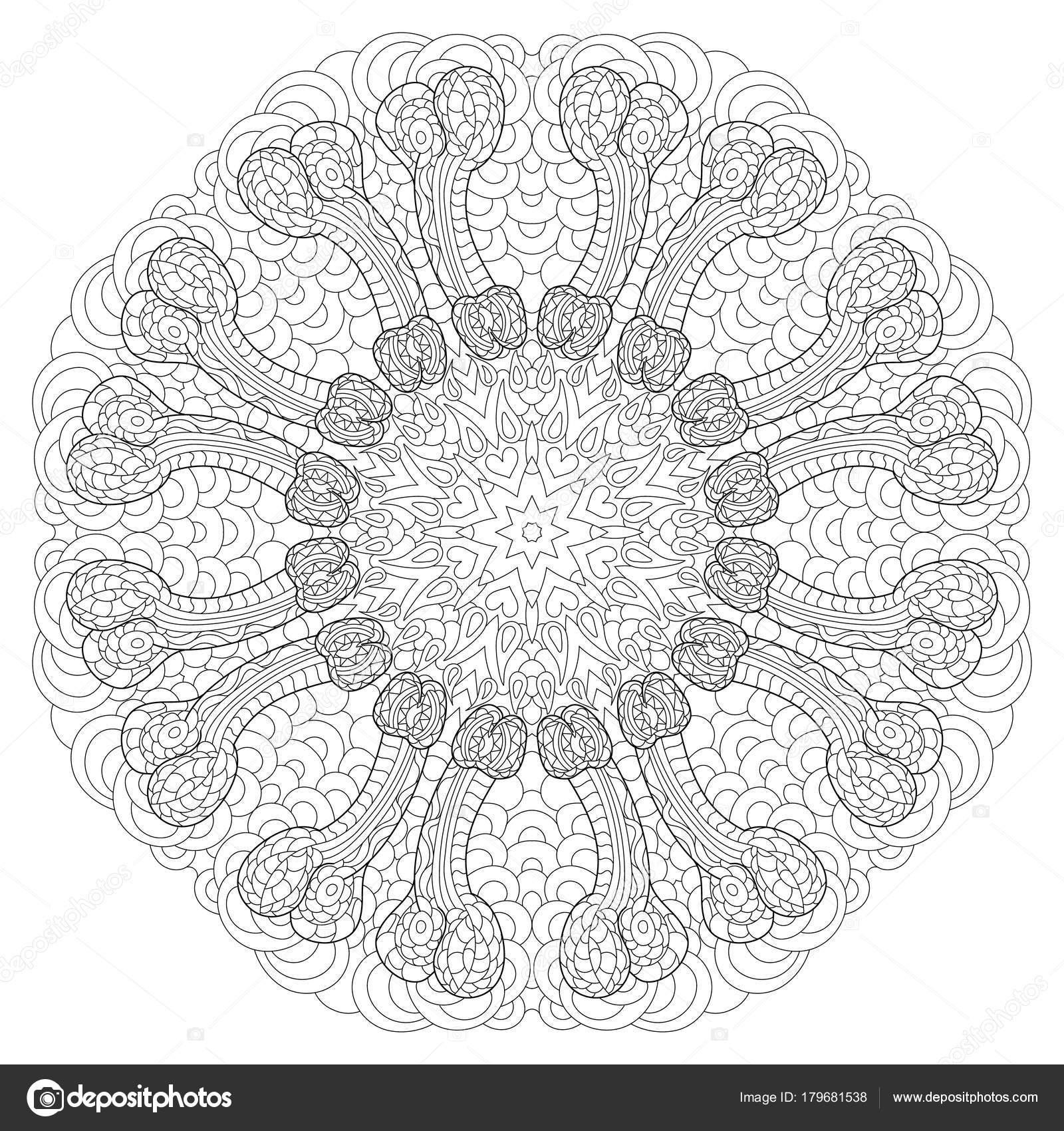 Penis Circular Mandala For Adults Coloring Book Page Design
