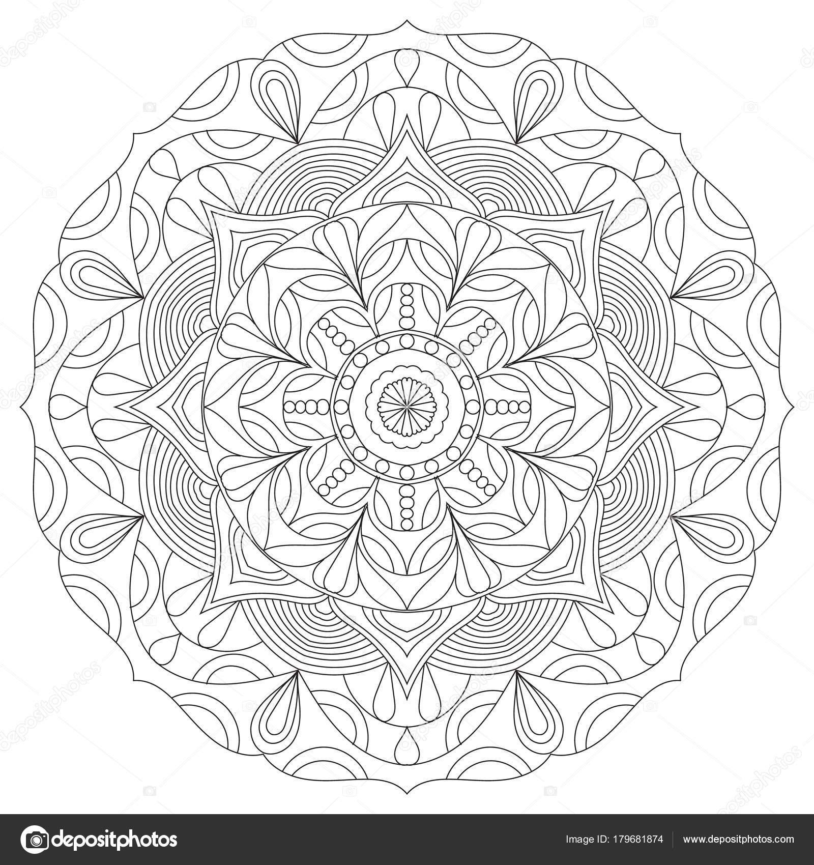 çiçek Dairesel Mandala Yetişkinler Için Boyama Kitabı Sayfa