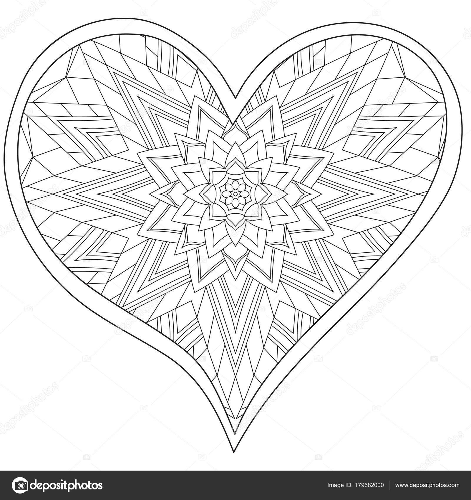Cuore Mandala Circolare Di Amore Per Gli Adulti Da Colorare Libro