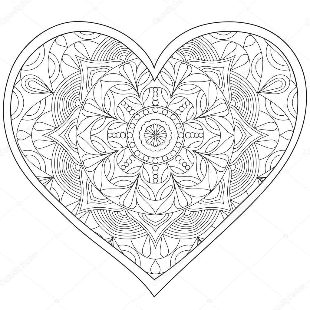 Coeur, amour circulaire mandala pour adultes. Livre de ...