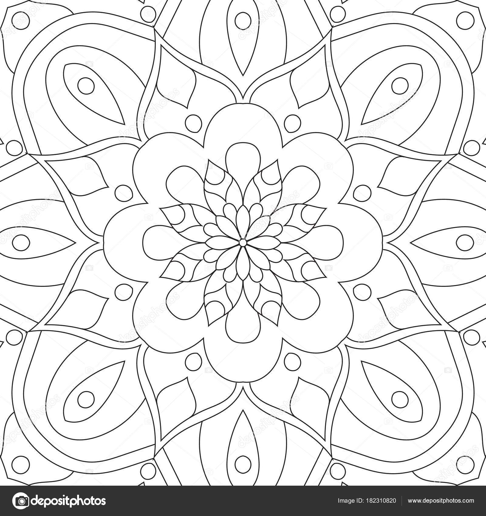 Mandala rectangular flor para adultos. Diseño de página de libro ...