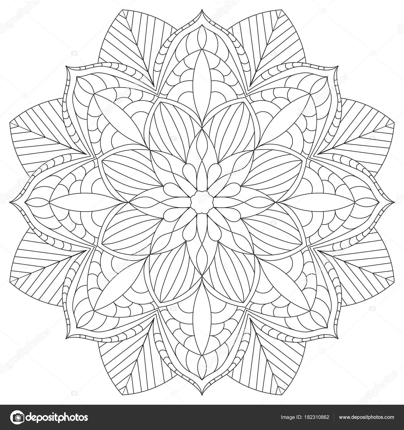 çiçek Dairesel Mandala Yetişkinler Için Boyama Kitabı Sayfa Tasarım