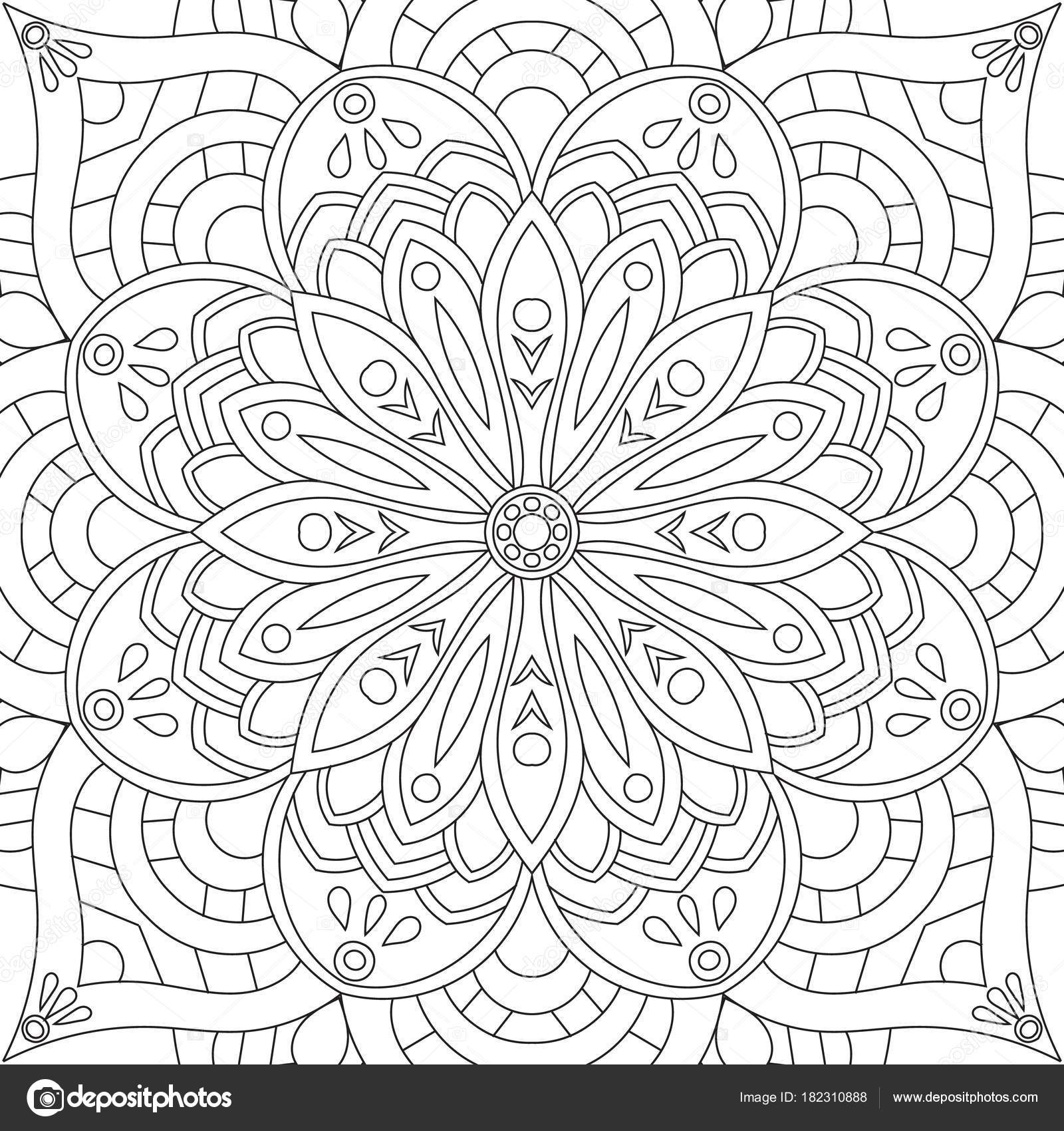 çiçek Dikdörtgen Mandala Yetişkinler Için Boyama Kitabı Sayfa