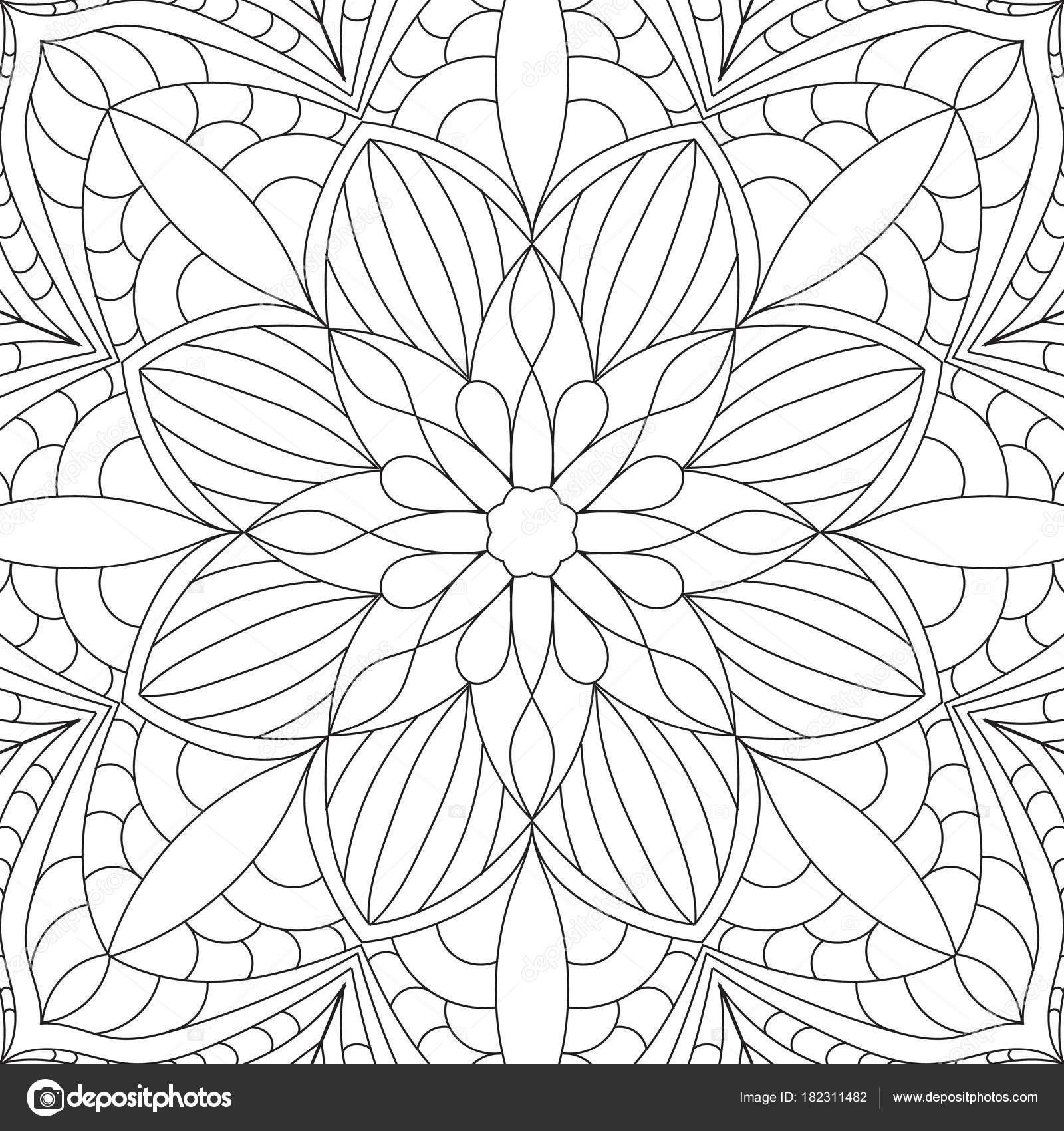 Mandala fiore rettangolare per adulti progettazione di - Pagine da colorare pesci per adulti ...