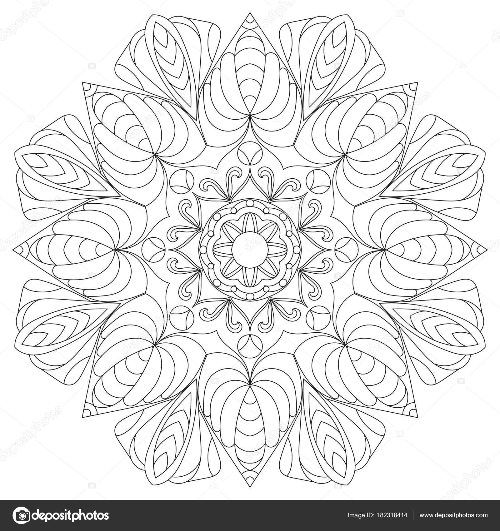 Flower Circular Mandala For Adults Coloring Book Page Design A