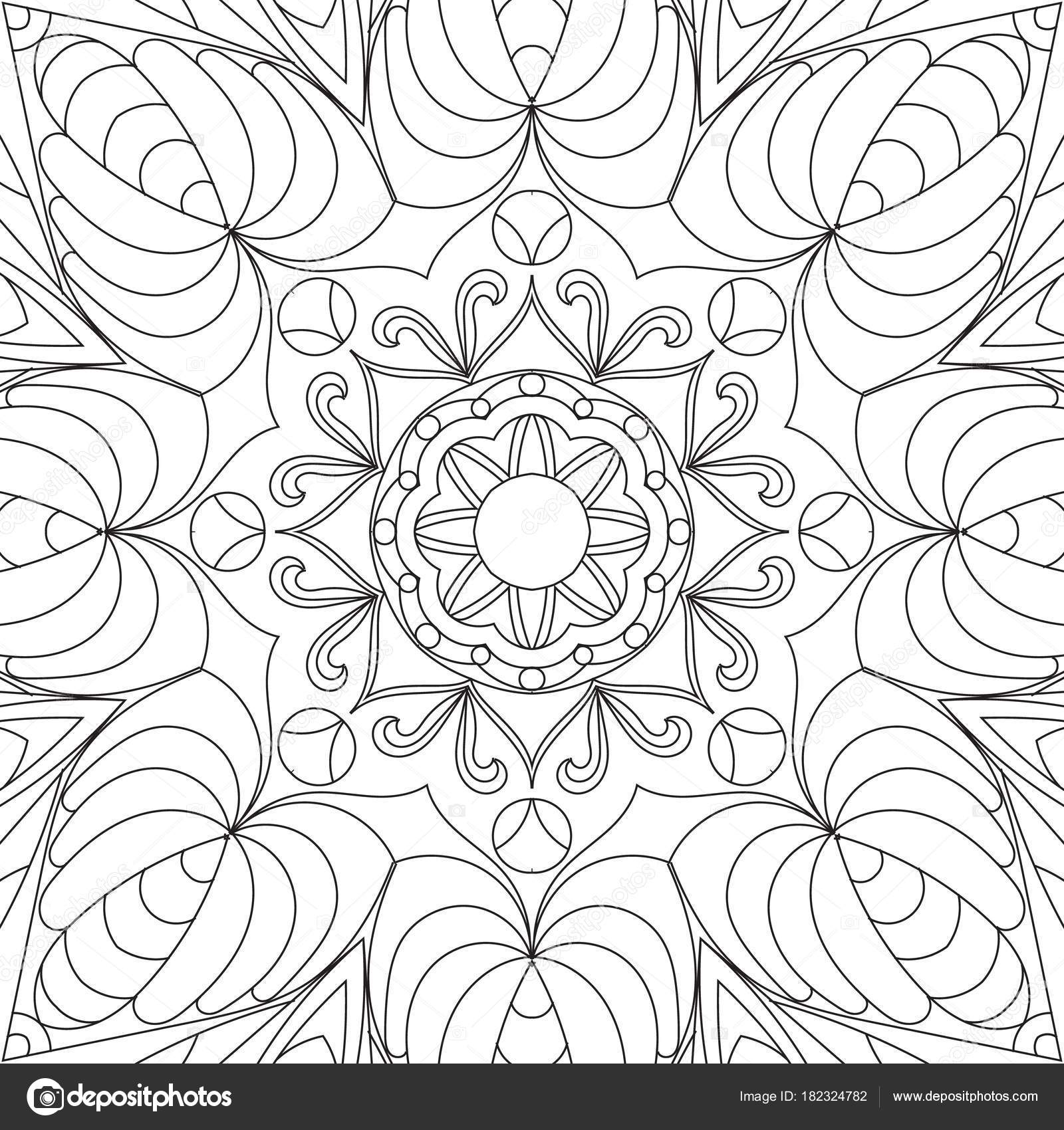 Flower Rectangular Mandala For Adults Coloring Book Page Design
