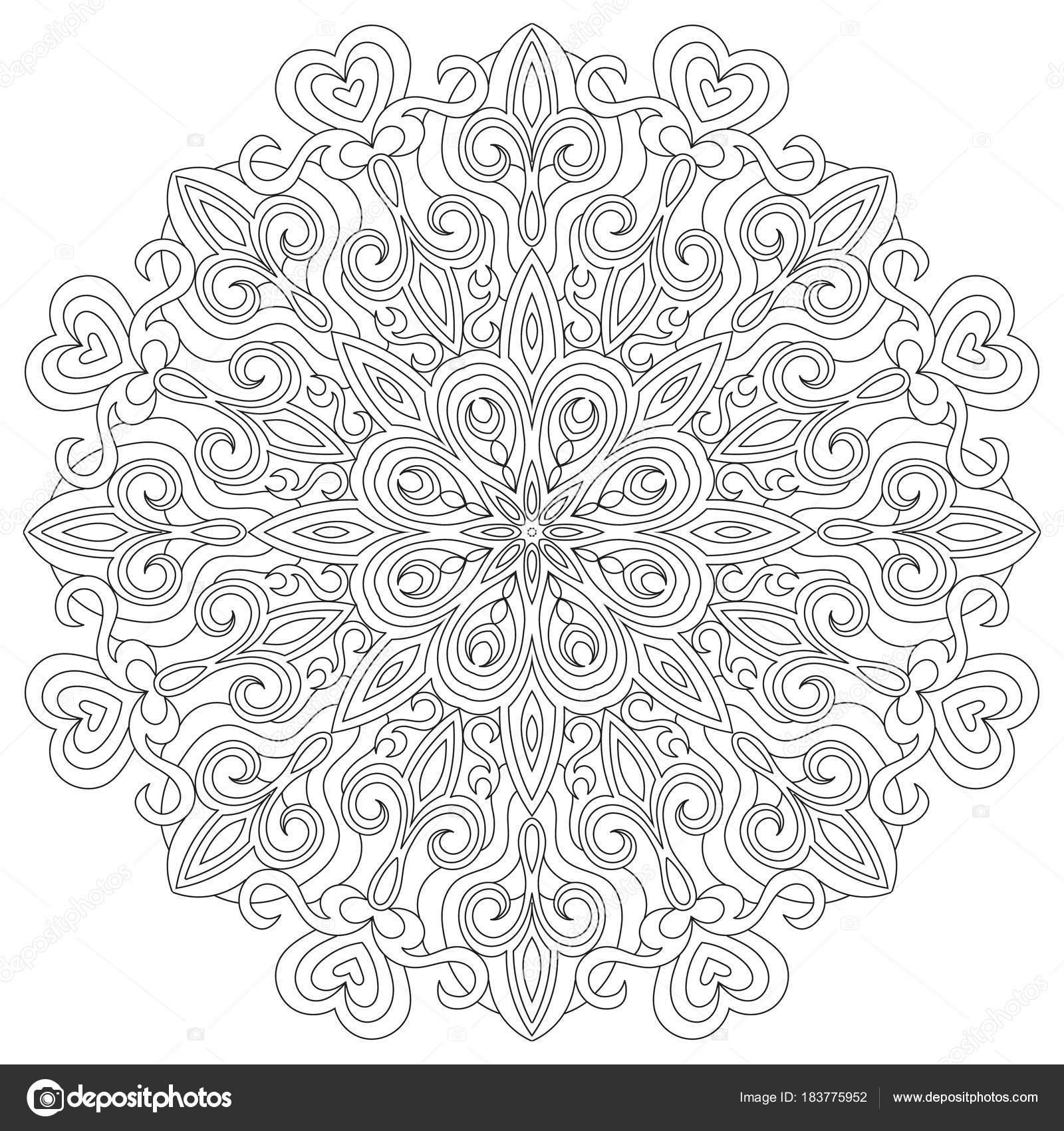 Mandala circular de flor para adultos. Diseño de página de libro ...