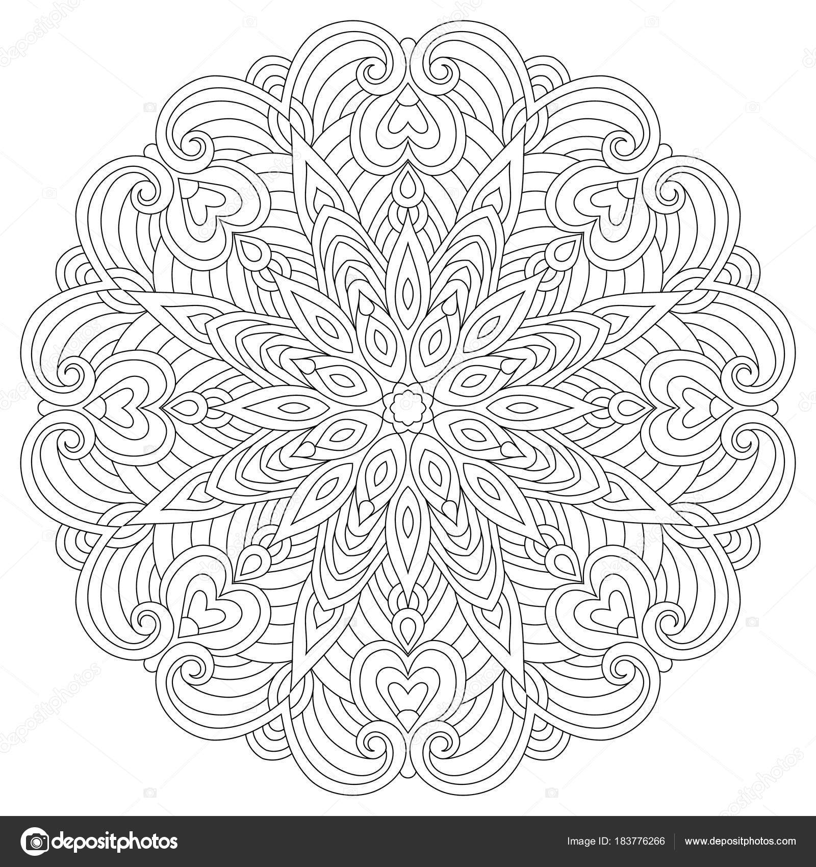Stock Illustration Flower Circular Mandala For Adults Coloring Book Page Design Anti Stress Black And White