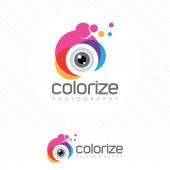 Barevné fotografie logo s moderním stylu objektivu fotoaparátu .