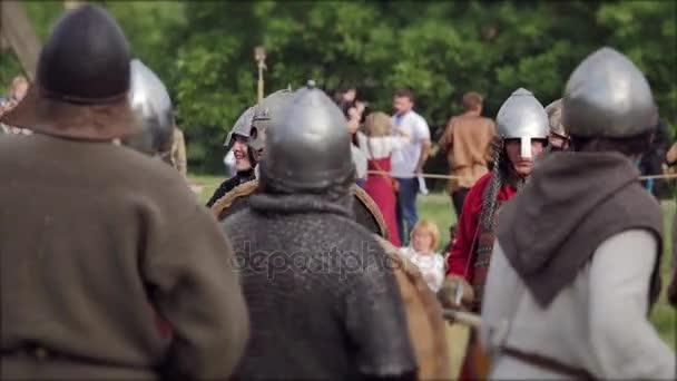 CHERNIVTSI, UKRAINE - JUNE 18, 2017: Fights on swords - war of Vikings