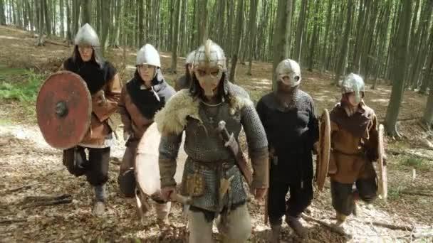Bojovníci Vikingové se v lese děje v bitvě.