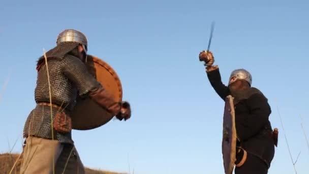 Dva válečníci Viking jsou boj s meči, s víčky, štíty na louce.